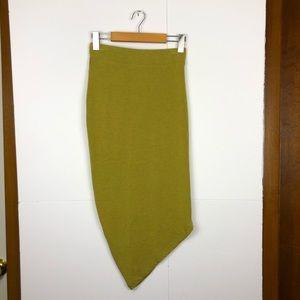 HEATHER Elastic Waist Side Asymmetric Skirt Sz S